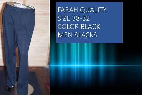FARAH QUALITY SIZE 38/32 COLOR BLACK MEN SLACKS
