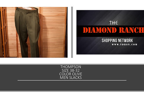 THOMPSON SIZE 38/32 COLOR OLIVE MEN SLACKS