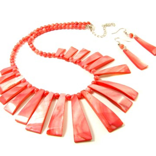 DYED NATURAL SHELL STICK NECKLACE AND EARRING SET-