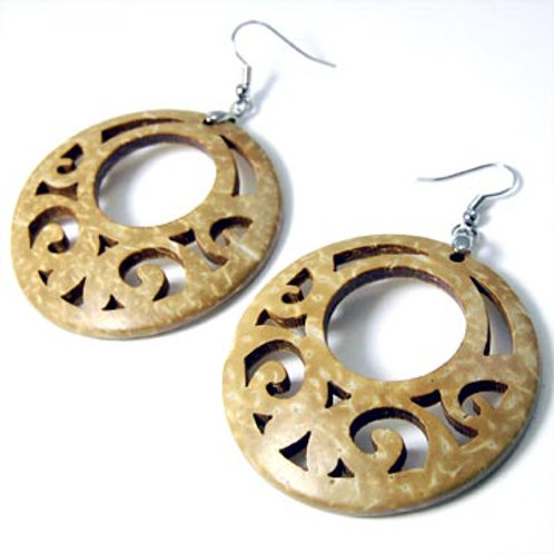 FLORET NATURAL COCO DISC EARRINGS