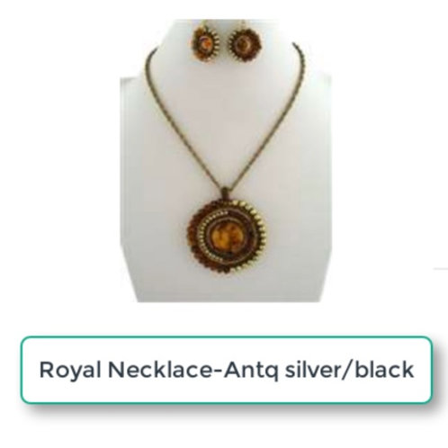 THE ROYAL ANTQ SILVER/BLACK NECKLACE SET