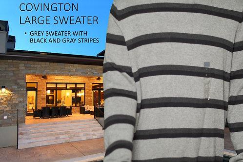 COVINGTON MEN SWEATER - LARGE/BLACK & GRAY STRIPES