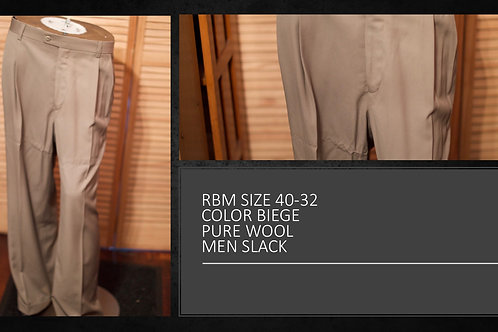 RBM SIZE 40/32 COLOR BIEGE PURE WOOL MEN SLACKS