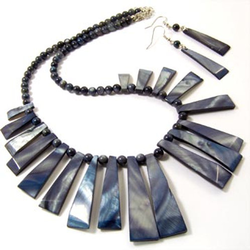 DYED NATURAL SHELL STICK NECKLACE AND EARRING SET