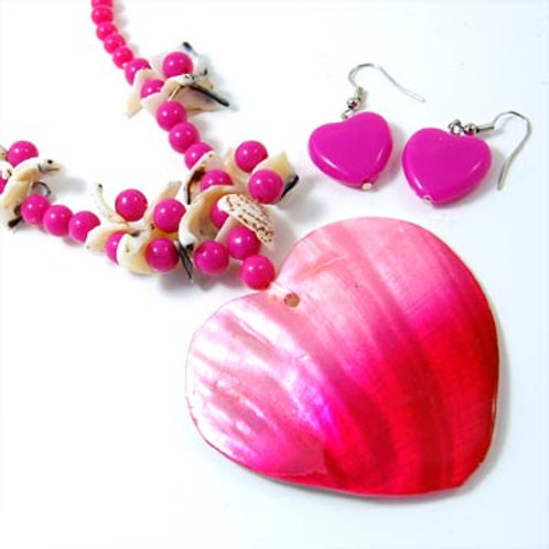 NATURAL SHELL HEART BEADED NECKLACE SET-PNK