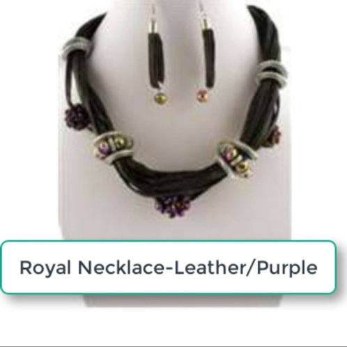 THE  ROYAL NECKLACE-LEATHER / PURPLE