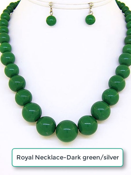 THE ROYAL NECKLACE - DARK GREEN/SILVER