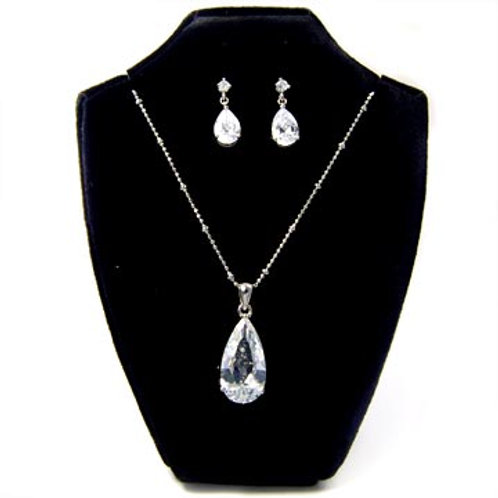 TEARDROP CZ NECKLACE SET-SILVER