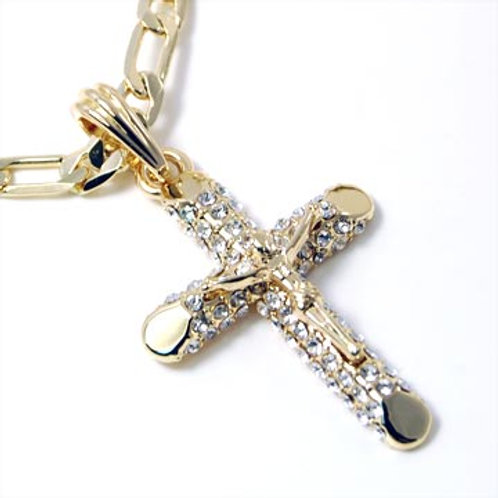 CRUCIFIX ON FIGARO CHAIN-GOLD