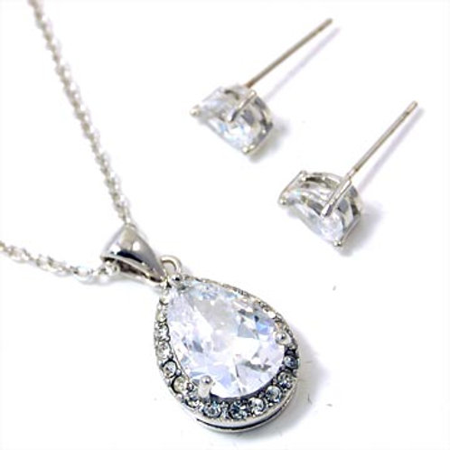 TEARDROP CZ NECKLACE AND EARRING SET