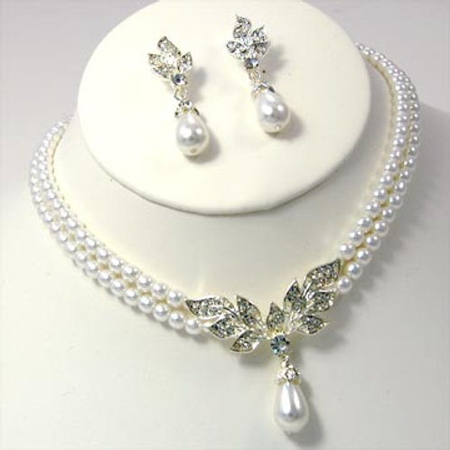 DOUBLE LINED PEARL AND RHINESTONE LEAF SET