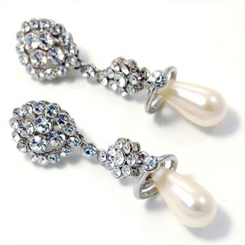 CRYSTAL AND PEARL CLIP-ON DROP EARRINGS