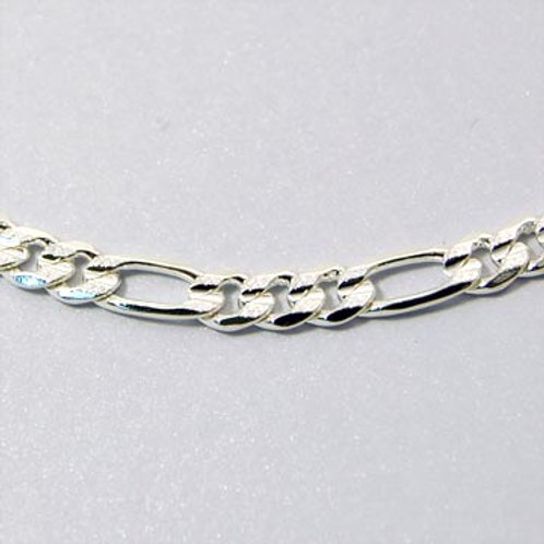 24IN 5MM PRESSED FIGARO CHAIN-SILVER