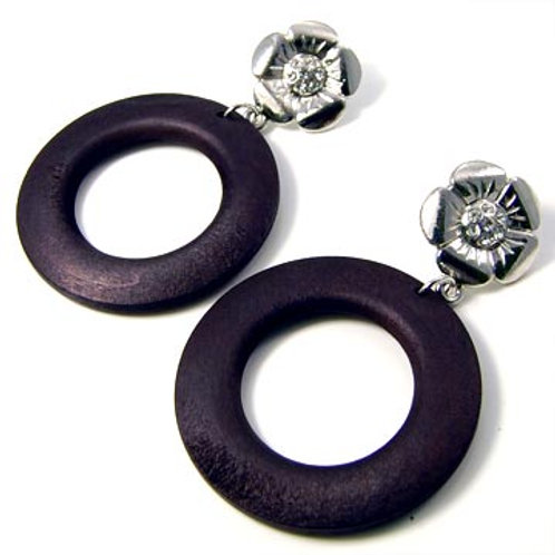 WOOD RING FLOWER EARRINGS-BLACK