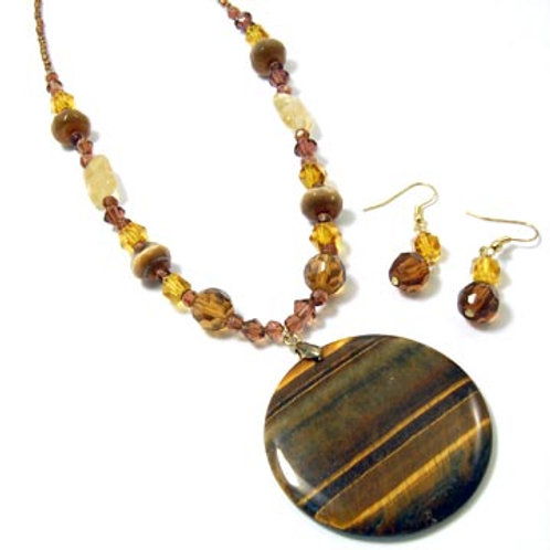 NATURAL STONE AND CRYSTAL NECKLACE SET-BROWN
