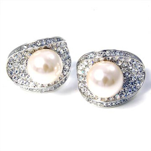 CRYSTAL ECLIPSE PEARL CLIP EARRINGS