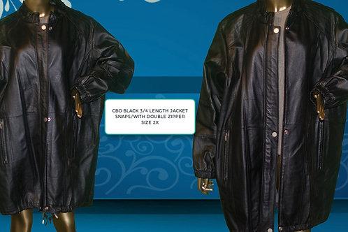 CBO 3/4 BLACK LEATHER JACKET  W/ DOUBLE ZIPPER