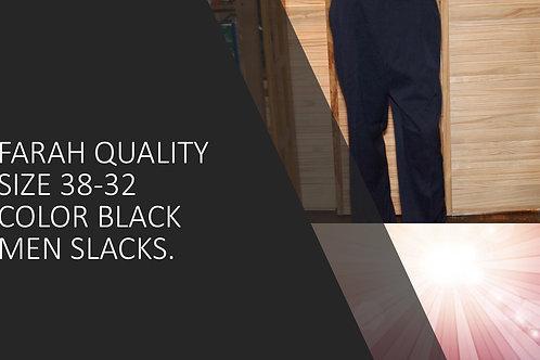 FARAH QUALITY SIZE 38/32 COLOR BLACK MEN SLACKS
