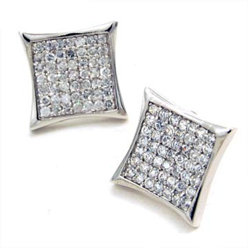STERLING SILVER MICRO PAVE CRYSTAL POST EARRINGS