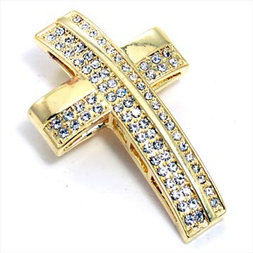 CURVED CROSS PENDANT-GOLD