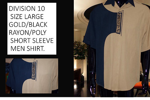 DIVISION 10 EMBROIDERED SIZE LG/GOLD/BLACK/RAYON/POLY SHORT SLEEVE MEN SHIRT