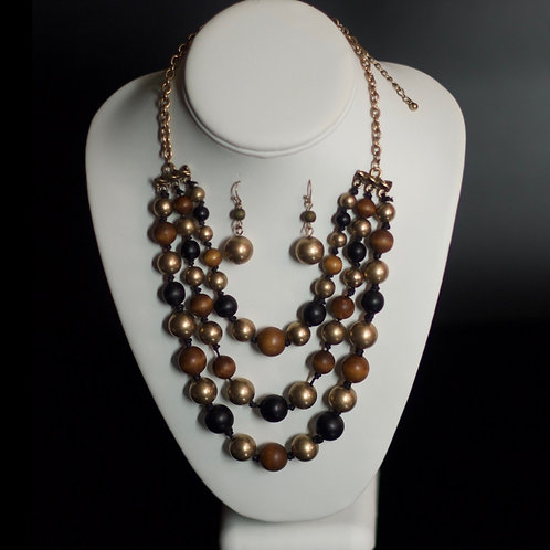 THE  ROYAL NECKLACE - BROWN/ANTQ GOLD