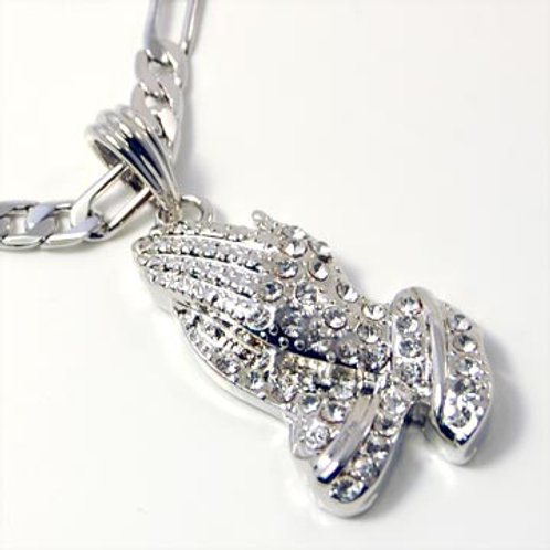 PRAYING HANDS ON FIGARO CHAIN (silver)