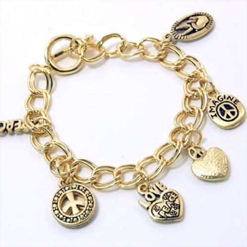 PEACE AND LOVE CHARM TOGGLE BRACELET-GOLD