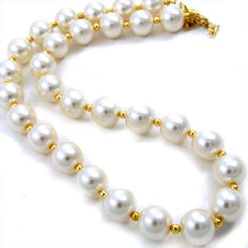 GLASS PEARL NECKLACE- CREAM