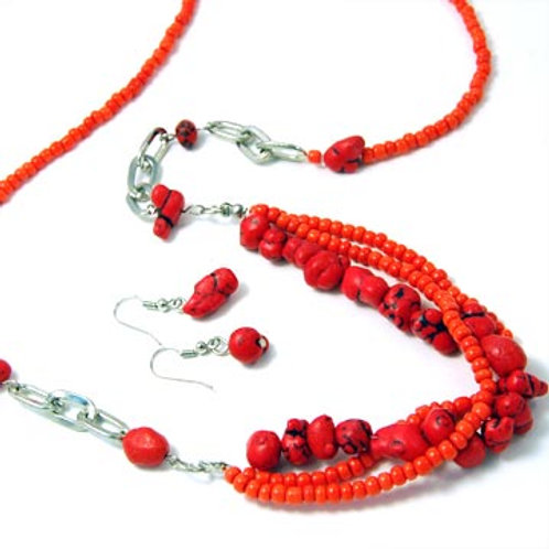 STONE AND SEED BEADED LONG NECKLACE SET