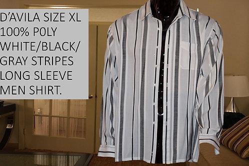 D'AVILA SIZE XL POLY WHITE/BLACK/GRAY LONG SLEEVE MEN SHIRT