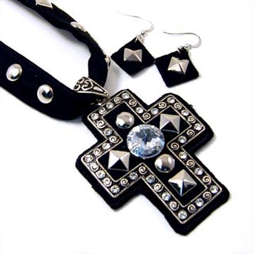 Felt Back Studded Cross Necklace Set