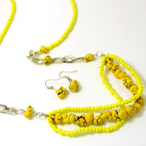 Stone & Seed Beaded Long Necklace Set