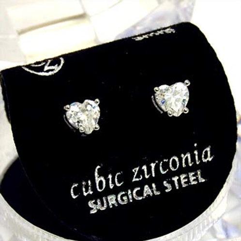 CUBIC ZIRCONIUM HEART EARRINGS