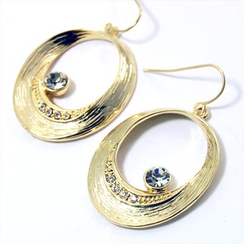 CRYSTAL TEXTURED OVAL EARRINGS