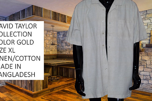DAVID TAYLOR COLLECTION SIZE XL. COLOR GOLD, LINEN/COTTON MEN SHORT SLEEVE SHIRT