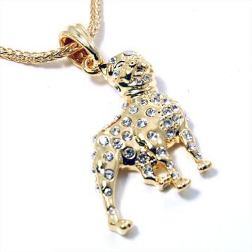 ICED PIT BULL PENDANT NECKLACE-GOLD