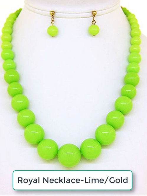 THE ROYAL NECKLACE SET-LIME GREEN