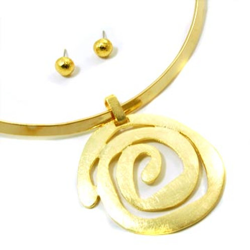 HAND FINISHED SPIRAL CHOKER SET- GOLD