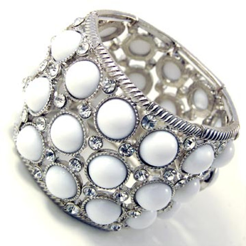 Wide Jewel and Crystal Stretch Bracelet