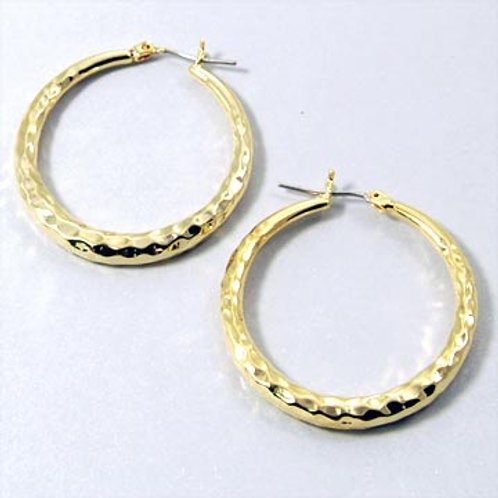 HAMMERED ROUND HOOPS-GOLD