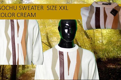 COCHU MEN SWEATER COLOR CREAM SIZE XXL  (DEFECT ON COLLAR)