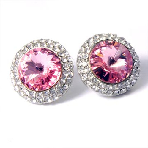 SWAROVSKI RIVOLI ROUND EARRINGS-ROSE