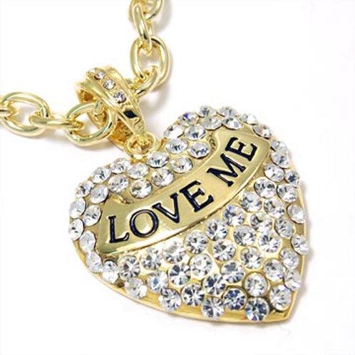 """LOVE ME' HEART PENDANT NECKLACE-GOLD"