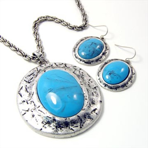 FAUX STONE OVAL PENDANT NECKLACE SET- TURQUOISE