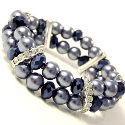 DOUBLE LINED PEARL AND CRYSTAL STRETCH BRACELET-BL