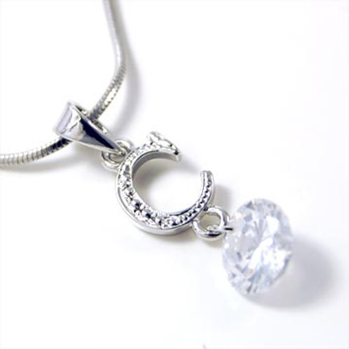 LETTER C NECKLACE-SILVER