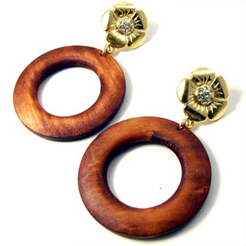 WOOD RING FLOWER EARRINGS-BRN