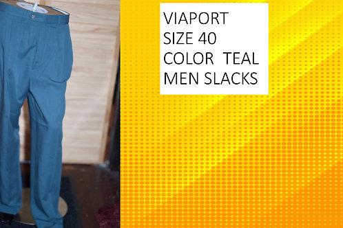 VIA PORT SIZE 40 COLOR TEAL MEN SLACKS