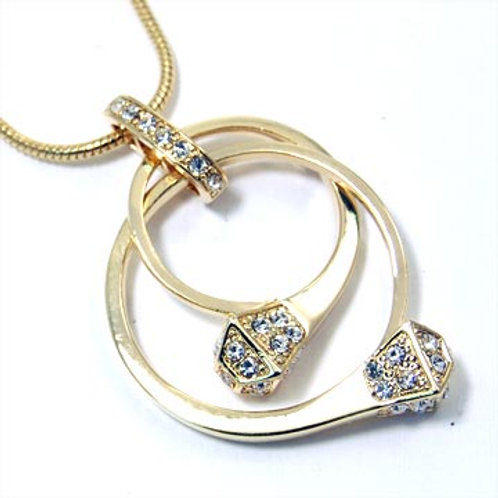 GLAMOROUS TWO RING NECKLACE